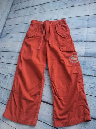 Mini Boden red cargo trousers with roll up button age 5-6